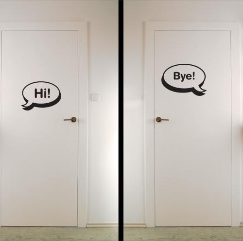 Superb Hi, Bye Door Sticker