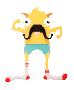 Carlos the Mustache Monster- Wall decal and Hanger