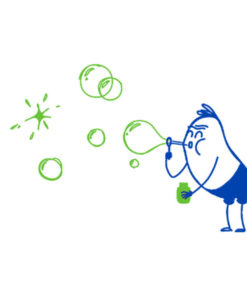 Wall Decal Bubbles Wally Green Blue