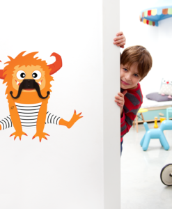 Zooey the Mustache Monster- Wall decal and Hooks