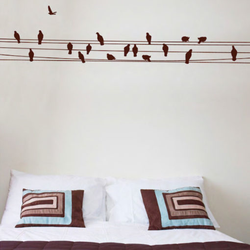 wall decal birds brown