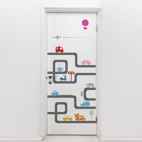 Door decal door road door decorations for Door mural stickers