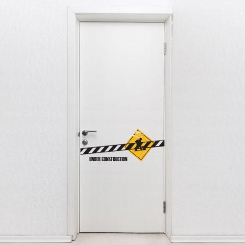 door decal under construction door decals