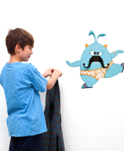Esteban the Mustache Monster- Wall decal and Hanger
