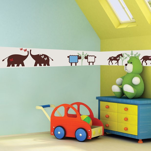 Kids Wall Border Zoo