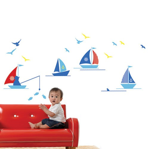 Kids Wall Decal Boats Children Wall Stickers