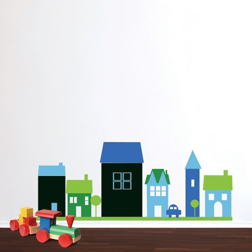 Kids Wall Decal Chalkboard Houses Chalkboard Wall Stickers - House wall decals