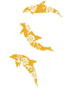 Dolphins wall stickers Yellow