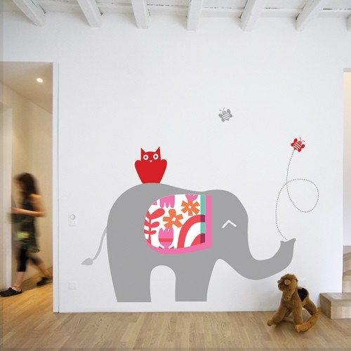 Wall Decal Elephant Grey U0026 Red