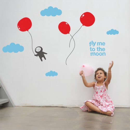 Kids Wall Decal Fly Me To The Moon Vinyl Wall Decals