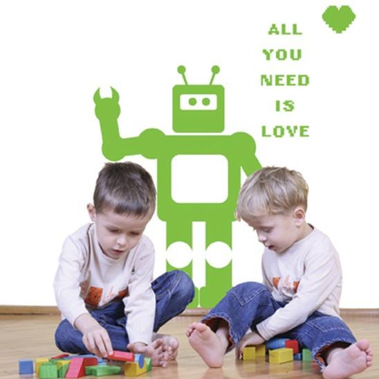 kids wall decal he robot