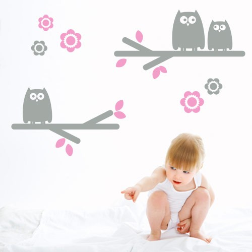 kids wall decal owls on branchs