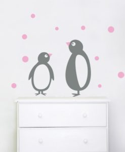 wall sticker penguins grey & pink