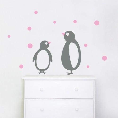 Wall sticker penguins grey pink