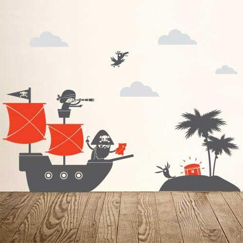 kids bedroom ahoy ships pirate wall decals. Black Bedroom Furniture Sets. Home Design Ideas
