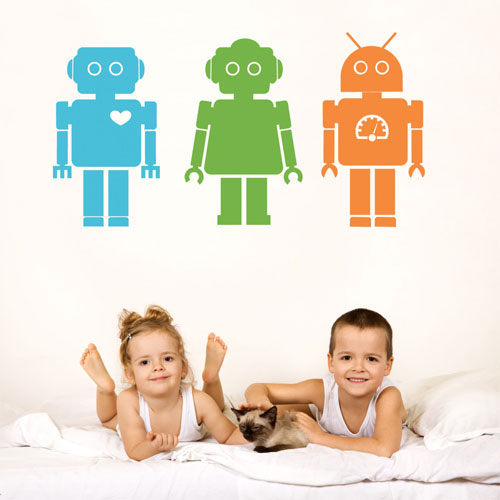 kids wall decal robots