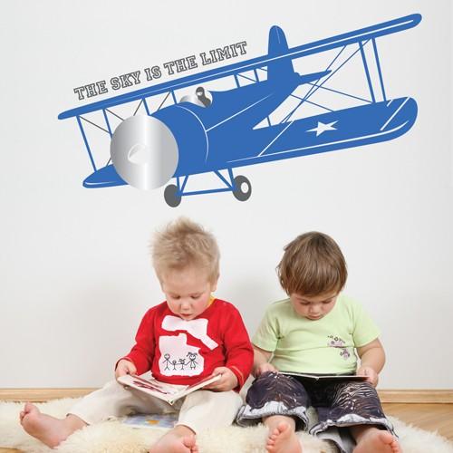 Kids wall decal vintage airplane1