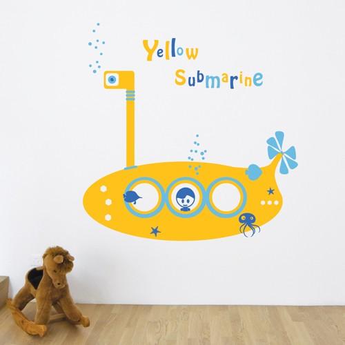 Kids Wall Decal Yellow Submarine & Yellow Submarine Wall Decal u2013 Kids Wall Stickers - CoolWallArt