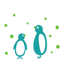 wall sticker penguins green