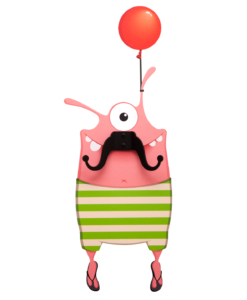 Lulu the pink, cheeky wall decal monster with a glorious mustache coat hanger!