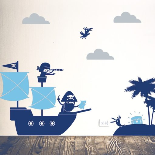 pirates wall stiicker blue