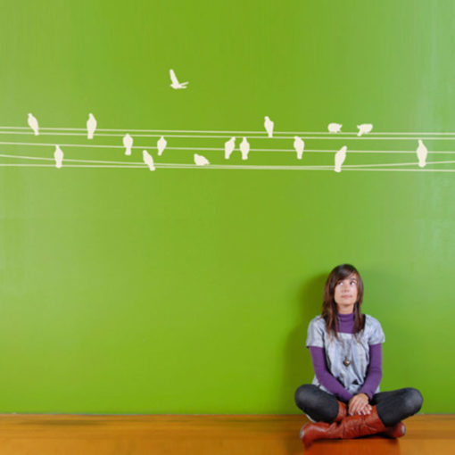 wall decal birds on wire
