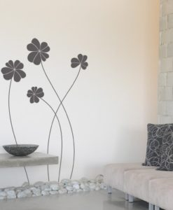 wall decal elegant flowers dark grey