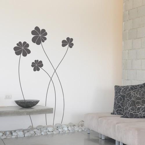 wall decal elegant flowers dark grey