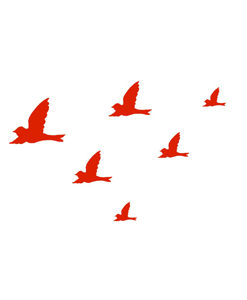 Wall Decal Flying Birds red