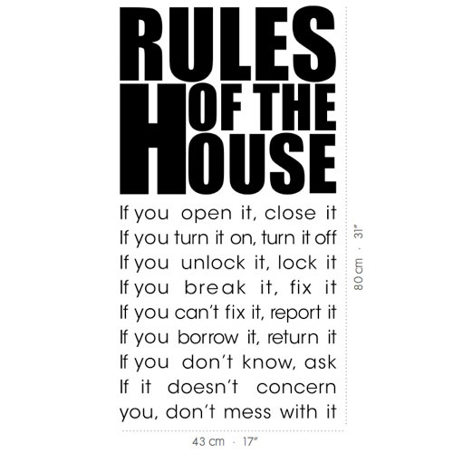 Wall Decal House Rules Vinyl Wall Stickers