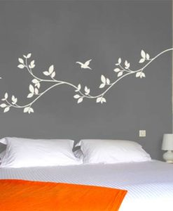 wall decal leaves white