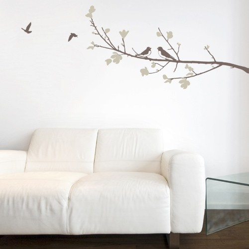 Beautiful Leaves U0026 Birds Wall Decal Brown