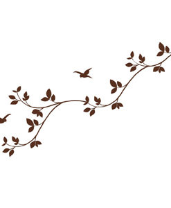 wall decal leaves brown