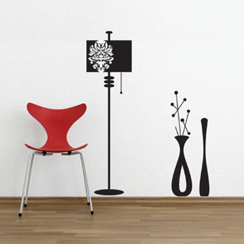 wall decal lighting fixtures vases