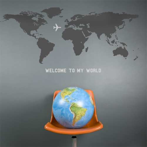 World Map Wall Decal Vinyl Wall Stickers