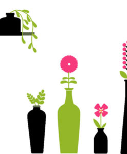 Wall Decal Vases & Flowers Black, green & Fuchsia