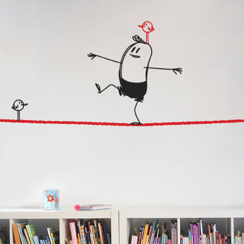 wall decal wally on the rope  sc 1 st  wall art u2013 CoolWallArt & You Never Know Where Wally My Wall Buddy Will Appear - CoolWallArt