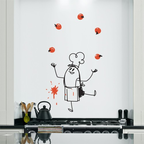 wall decal chef wally kitchen wall decor coolwallart