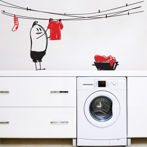 Wall Decal Laundry Wally  sc 1 st  wall art u2013 CoolWallArt & Wall Decal Laundry Wally - Kids Vinyl wall decor
