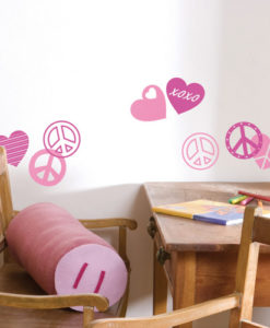 wall sticker peace love pink