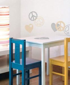 wall sticker peace love silver